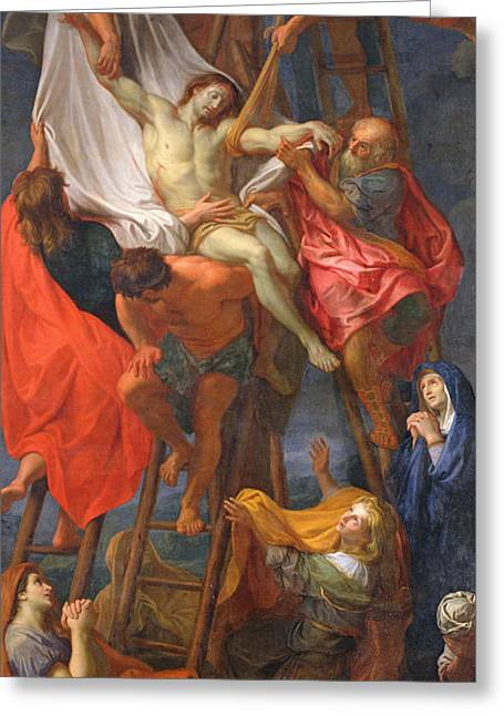 Gospel Greeting Cards - Descent from the Cross Greeting Card by Charles Le Brun