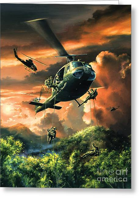 Flight Drawings Greeting Cards - Descent Into The A Shau Valley Greeting Card by Randy Green