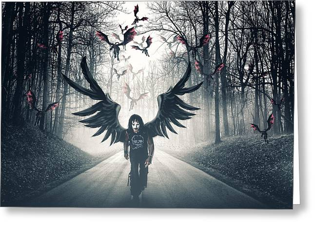 Dark Angels Greeting Cards - Descent  Greeting Card by Joshua Minso