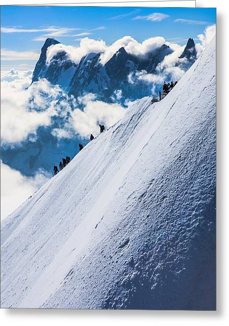 Midi Greeting Cards - Descent of the aguille du midi in the french alps Greeting Card by Wout Kok