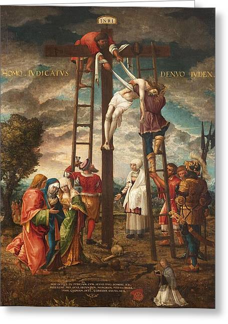 Christ Photographs Greeting Cards - Descent Of The Cross Oil On Panel Greeting Card by Hans Muelich or Mielich