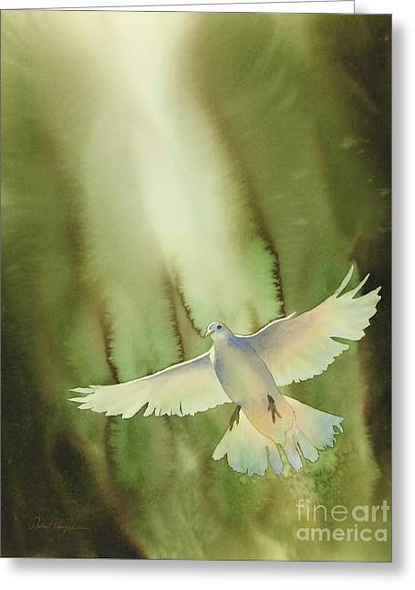 Doves Paintings Greeting Cards - Descent Greeting Card by Robert Hooper