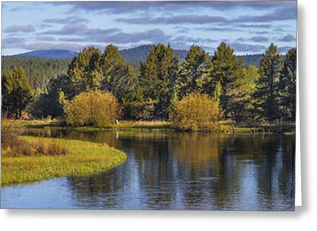 Sunriver Greeting Cards - Deschutes River Panorama Greeting Card by Twenty Two North Photography