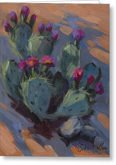 Cactus Flowers Greeting Cards - Desert Beaver Tail Cactus Greeting Card by Diane McClary