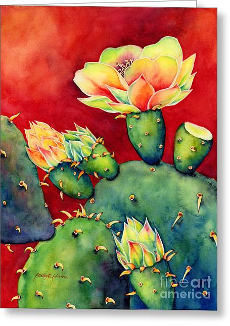 Cactus Flowers Greeting Cards - Desert Bloom Greeting Card by Hailey E Herrera