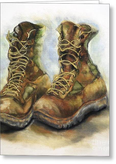 Iraq Prints Greeting Cards - Desert Boots Greeting Card by Leisa Shannon Corbett