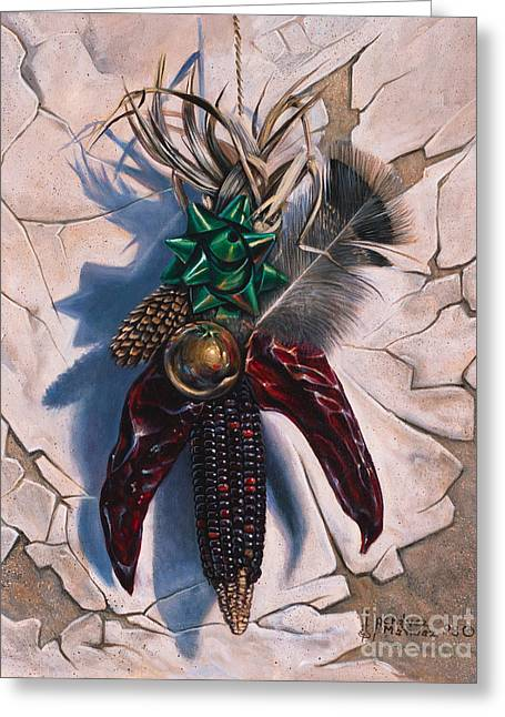 Pine Cones Paintings Greeting Cards - Desert Bow Greeting Card by Ricardo Chavez-Mendez