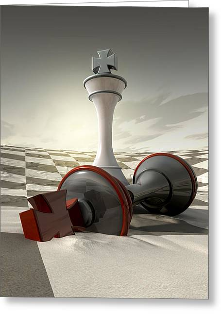 Victory Digital Art Greeting Cards - Desert Chess Defeat Greeting Card by Allan Swart