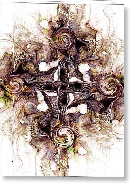 Sand Patterns Mixed Media Greeting Cards - Desert Cross Greeting Card by Anastasiya Malakhova