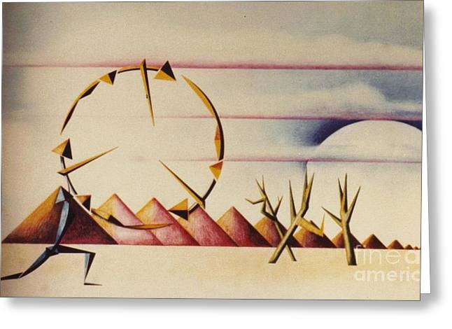 Surreal Landscape Drawings Greeting Cards - Desert Dancers Greeting Card by David Neace
