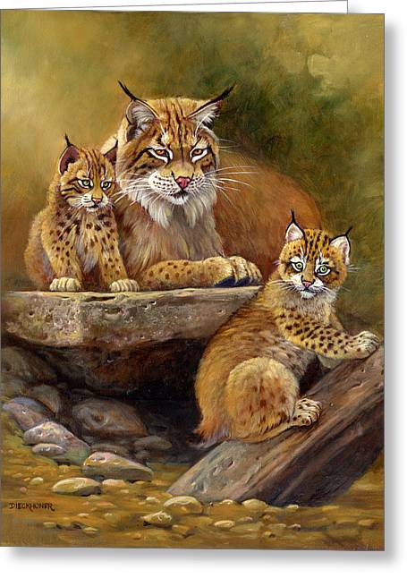 Recently Sold -  - Bobcats Greeting Cards - Desert Day Care Greeting Card by Gene Dieckhoner