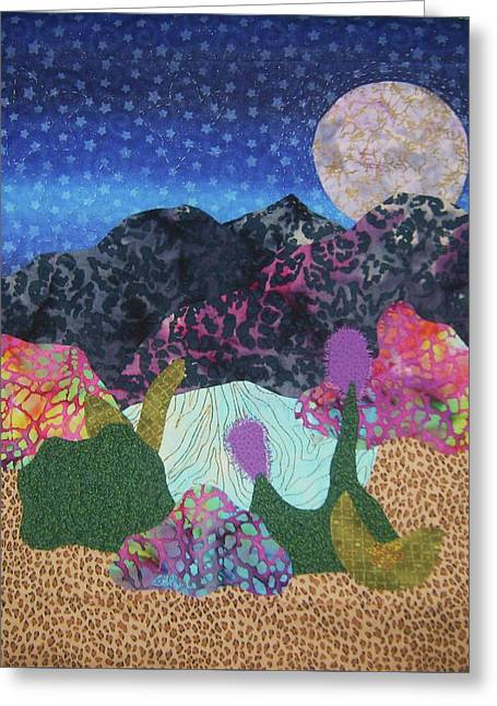 Wall Quilt Tapestries - Textiles Greeting Cards - Desert Dreaming Greeting Card by Ellen Levinson