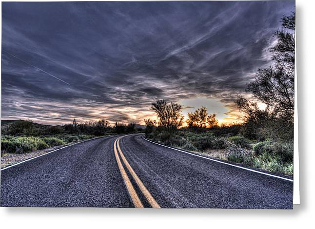 Drive Through Greeting Cards - Desert Drive Greeting Card by Anthony Citro