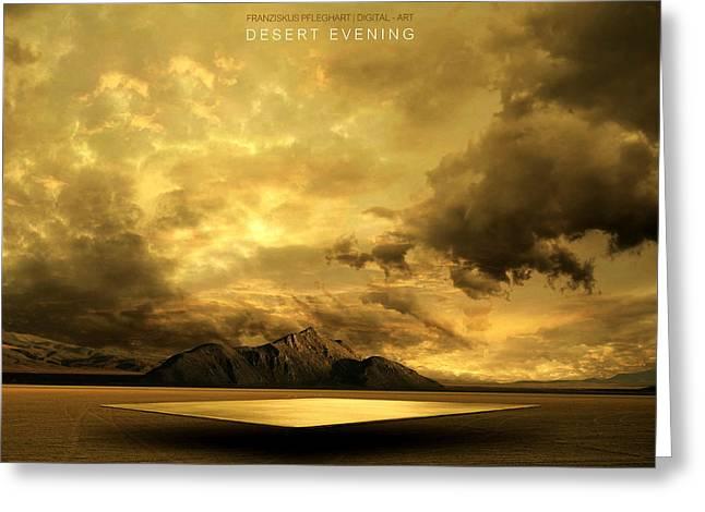 Mountain Digital Art Greeting Cards - Desert Evening Greeting Card by Franziskus Pfleghart