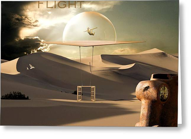 Clock Mixed Media Greeting Cards - Desert flight Greeting Card by Franziskus Pfleghart