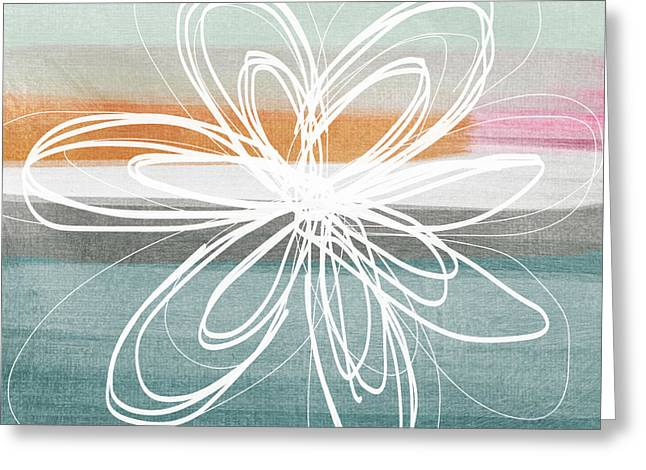 Desert Flower- Contemporary abstract flower painting Greeting Card by Linda Woods