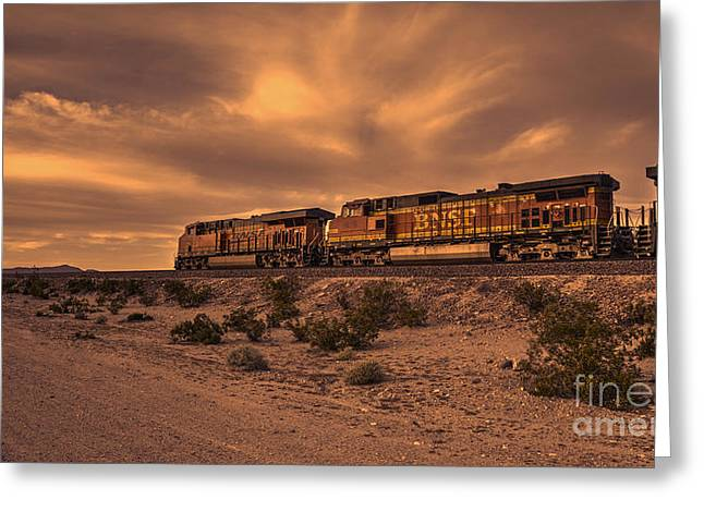 Bnsf Greeting Cards - Desert Freight  Greeting Card by Rob Hawkins
