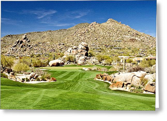 Scottsdale Artist Greeting Cards - Desert Golf Greeting Card by Scott Pellegrin