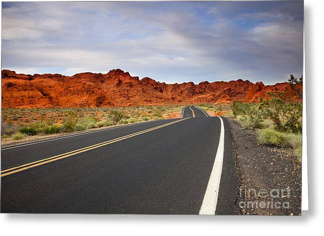 Highway Greeting Cards - Desert Highway Greeting Card by Mike  Dawson