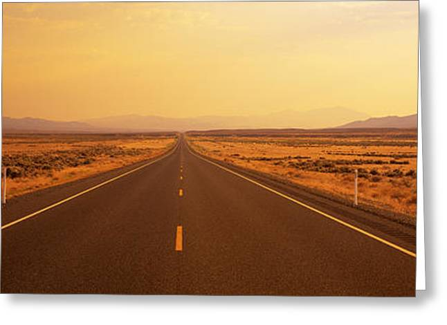 Mountain Road Greeting Cards - Desert Highway, Nevada, Usa Greeting Card by Panoramic Images