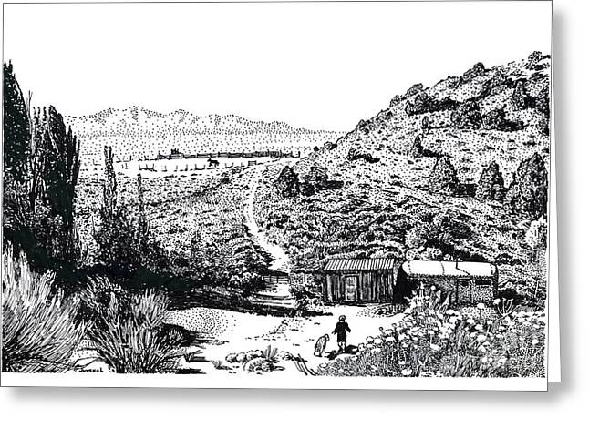 Pointillist Drawings Greeting Cards - Desert Home Greeting Card by Joseph Juvenal