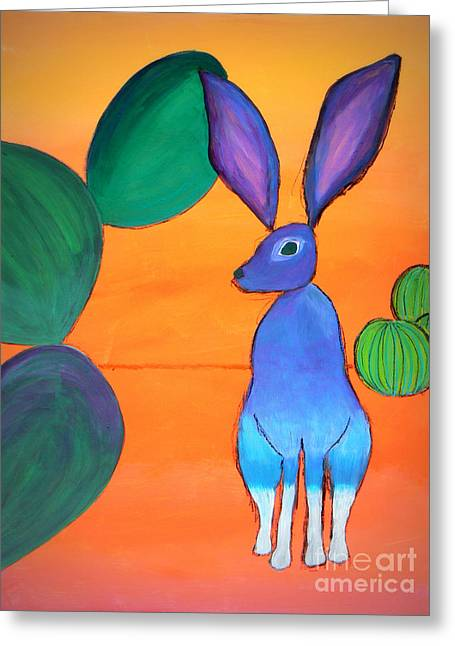 Recently Sold -  - White Paintings Greeting Cards - Desert Jackrabbit Greeting Card by Karyn Robinson