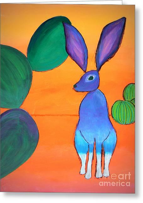 Pear Art Greeting Cards - Desert Jackrabbit Greeting Card by Karyn Robinson