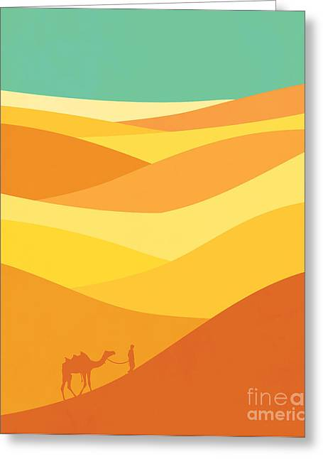 Middle East Greeting Cards - Desert journey Greeting Card by Budi Satria Kwan