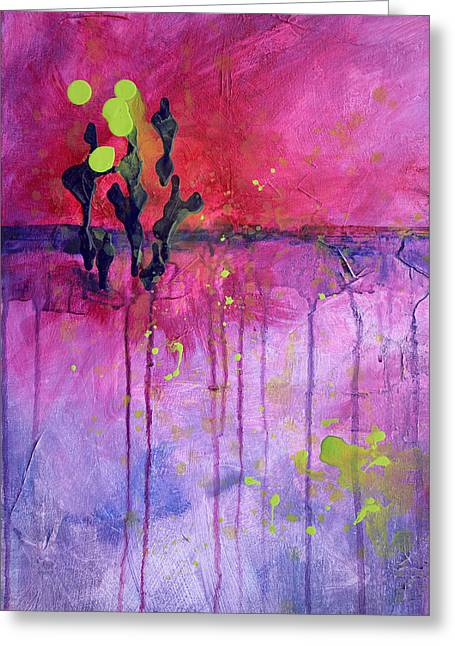 Free Form Paintings Greeting Cards - Desert Landscape Abstract Greeting Card by Nancy Merkle