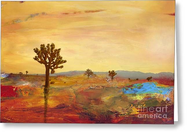 Levi Mixed Media Greeting Cards - Desert landscape Greeting Card by Stella Levi