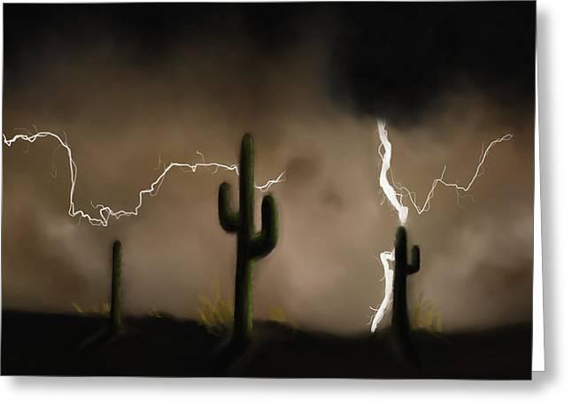 Lightning Strike Paintings Greeting Cards - Desert Lightning Greeting Card by Breana Conover