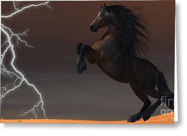 Images Lightning Digital Art Greeting Cards - Desert Lightning Horse Greeting Card by Corey Ford