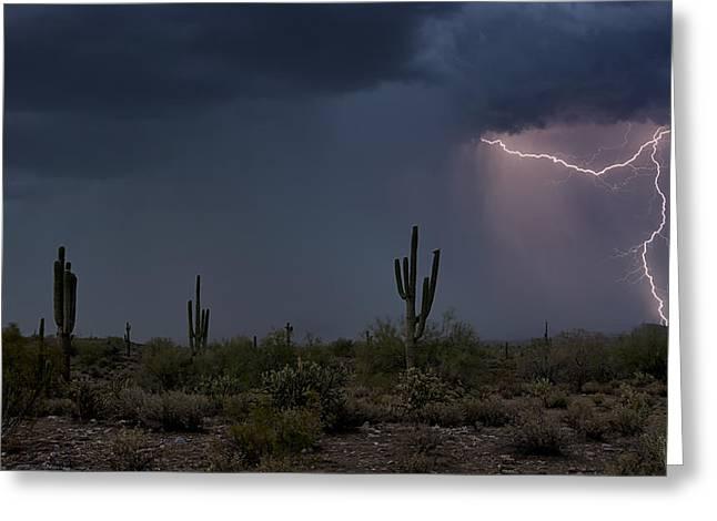 Arizona Lightning Greeting Cards - Desert Lightning  Greeting Card by Saija  Lehtonen