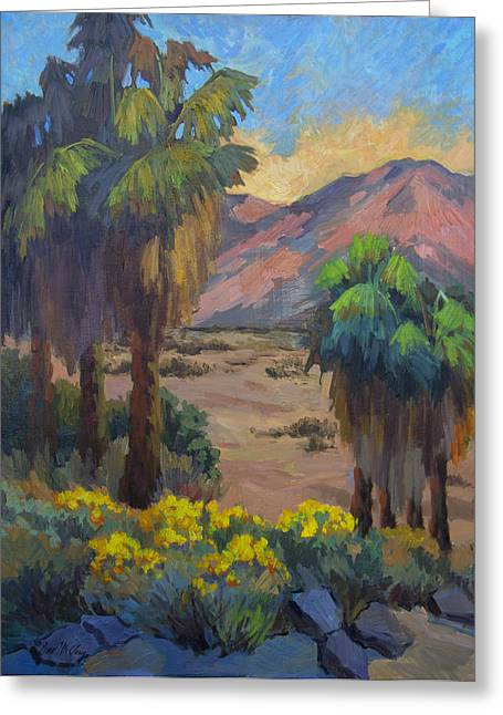 Oasis Greeting Cards - Desert Marigolds at Andreas Canyon Greeting Card by Diane McClary