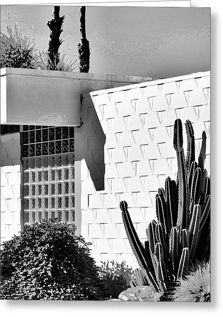 Featured Art Greeting Cards - DESERT MODERN BW Palm Springs Greeting Card by William Dey