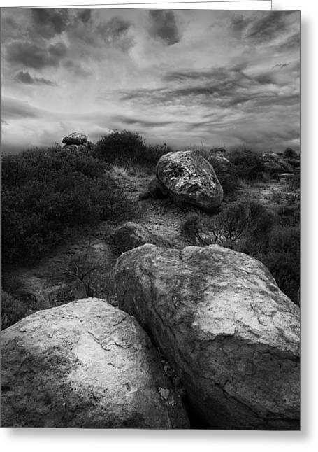 Digital Photography Art Greeting Cards - Desert Monsoon and Boulders Greeting Card by Jesse Castellano