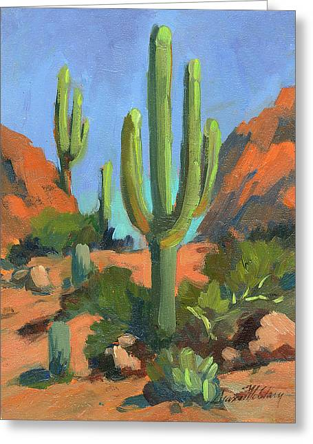 Saguaro Cactus Greeting Cards - Desert Morning Saguaro Greeting Card by Diane McClary
