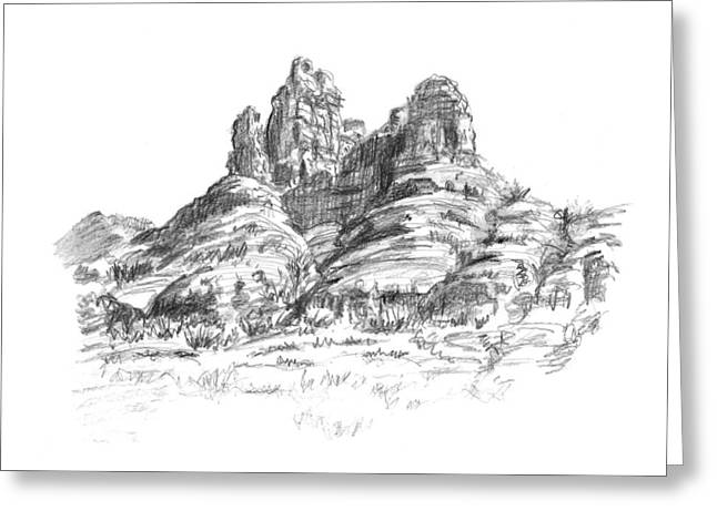 Residential Drawings Greeting Cards - Desert Mountains Greeting Card by Sarah Parks