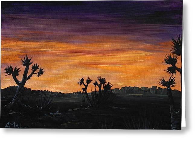 Dark Skies Drawings Greeting Cards - Desert Night Greeting Card by Anastasiya Malakhova