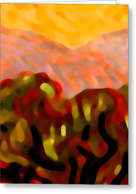 Red Abstract Greeting Cards - Desert Olive Trees Greeting Card by Amy Vangsgard