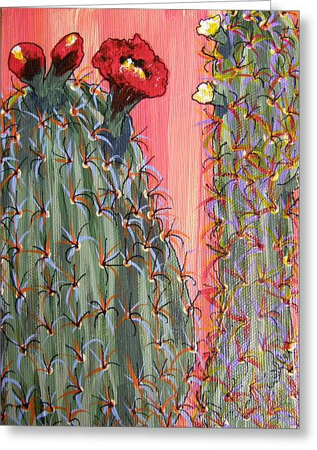 Marcia Weller-wenbert Greeting Cards - Desert Orange Cactus 1 Greeting Card by Marcia Weller-Wenbert