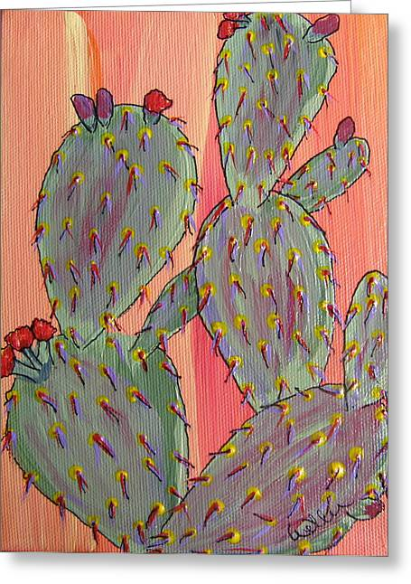 Marcia Weller-wenbert Greeting Cards - Desert Orange Cactus 2 Greeting Card by Marcia Weller-Wenbert