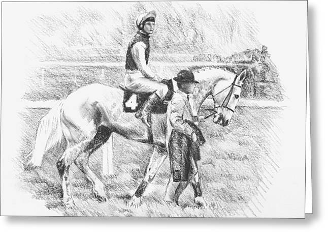 Race Horse Drawings Greeting Cards - Desert Orchid  Greeting Card by Kathryn Dalziel