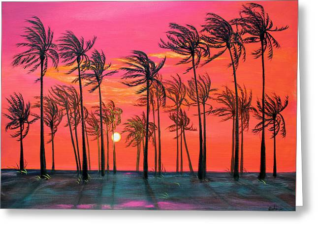 Breezy Greeting Cards - Desert Palm Trees at Sunset Greeting Card by Asha Carolyn Young