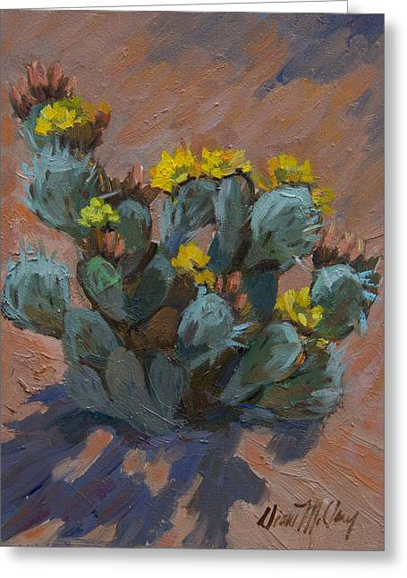 Cactus Flowers Greeting Cards - Desert Prickly Pear Cactus Greeting Card by Diane McClary