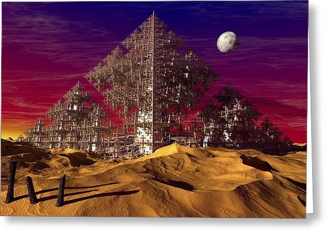 Geometric Artwork Greeting Cards - Desert pyramid fractal, artwork Greeting Card by Science Photo Library