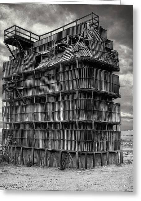 Wooden Platform Greeting Cards - Desert Redwood Cooling Tower Greeting Card by Daniel Hagerman