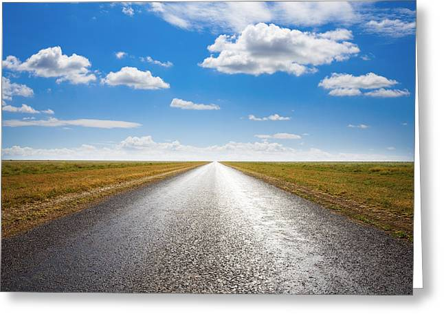 Backlit Greeting Cards - Desert Road and Dramatic Sky Greeting Card by Colin and Linda McKie
