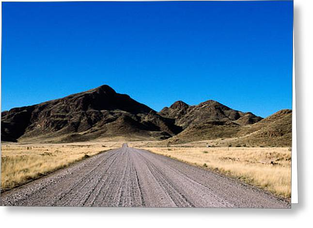 Diminishing Perspective Greeting Cards - Desert Road From Aus To Sossusvlei Greeting Card by Panoramic Images