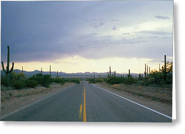 Roadway Greeting Cards - Desert Road Near Tucson Arizona Usa Greeting Card by Panoramic Images